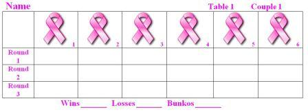 Breast Cancer Awareness Bunko Sheets