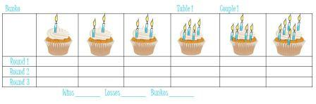 Birthday Cupcake Bunko Sheets