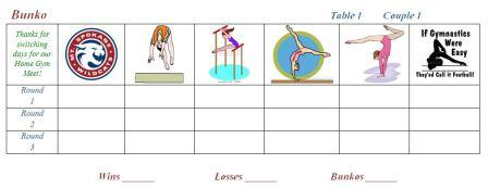 Mt. Spokane Gymnastics Bunko Sheets