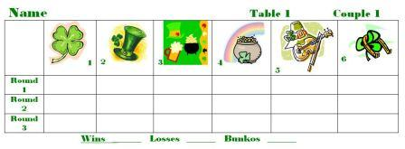 St. Patrick's Day Bunko Sheets